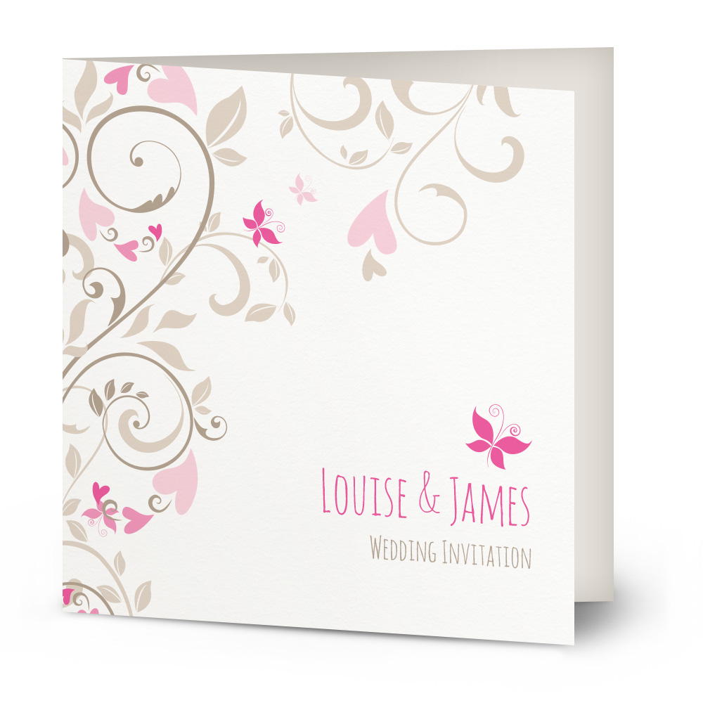 Butterfly Swirls wedding invitation – Beautiful Wishes