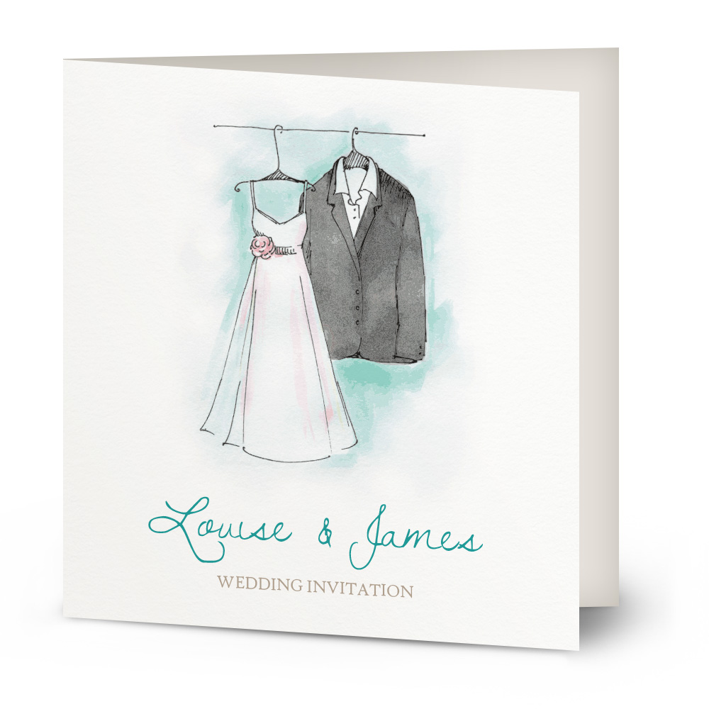 Watercolour suit & dress wedding invitation | Beautiful Wishes