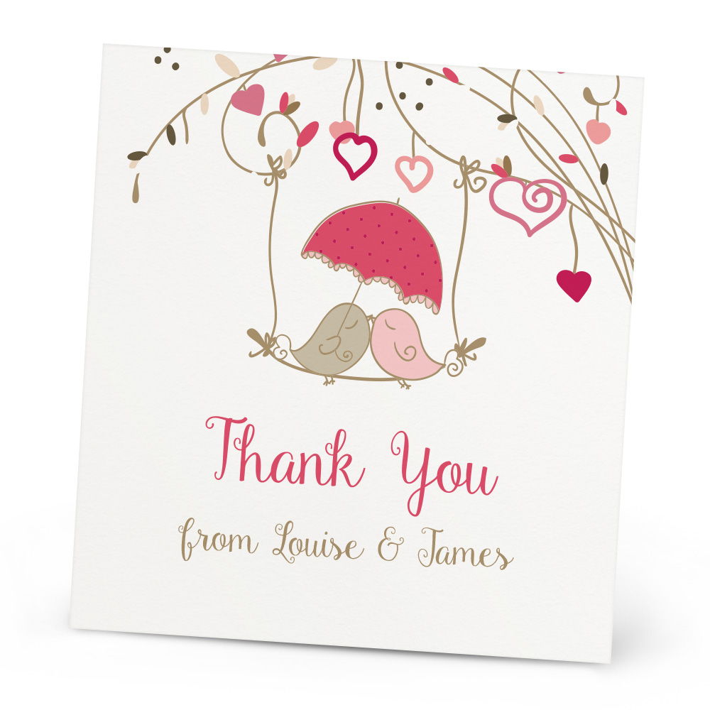 Love Birds Thank You Card Beautiful Wishes