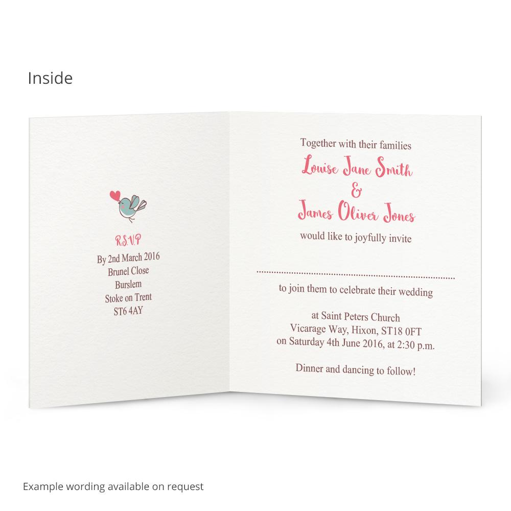 Heart Flutter Birds Wedding Invitation Beautiful Wishes