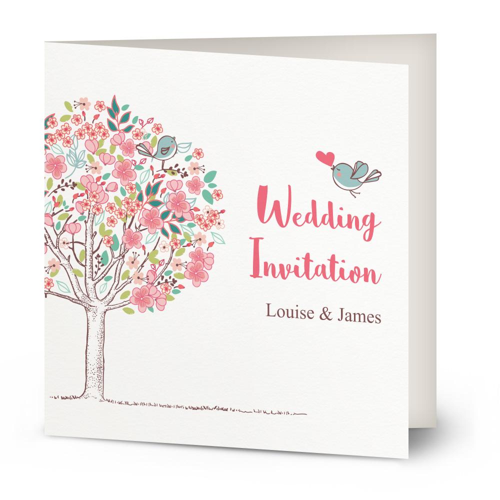 Heart Images For Wedding Invitations: Heart Flutter Birds Wedding Invitation