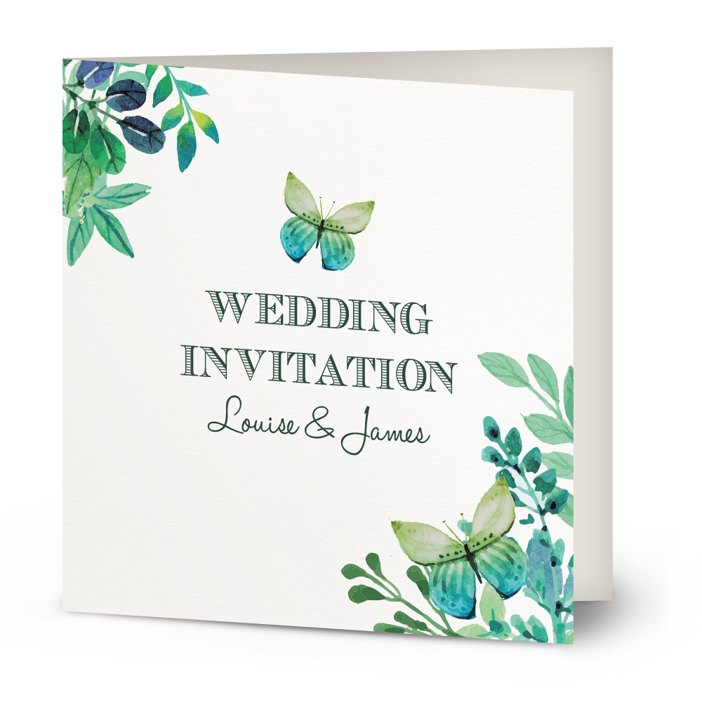 Watercolour Butterfly wedding invitation Beautiful Wishes – Butterfly Wedding Invite