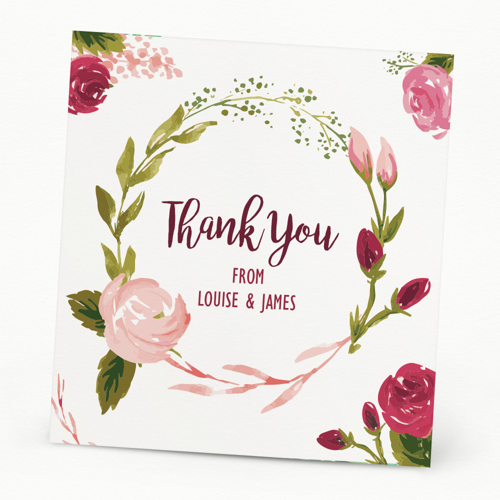 Painted Rose Thank You Card Beautiful Wishes