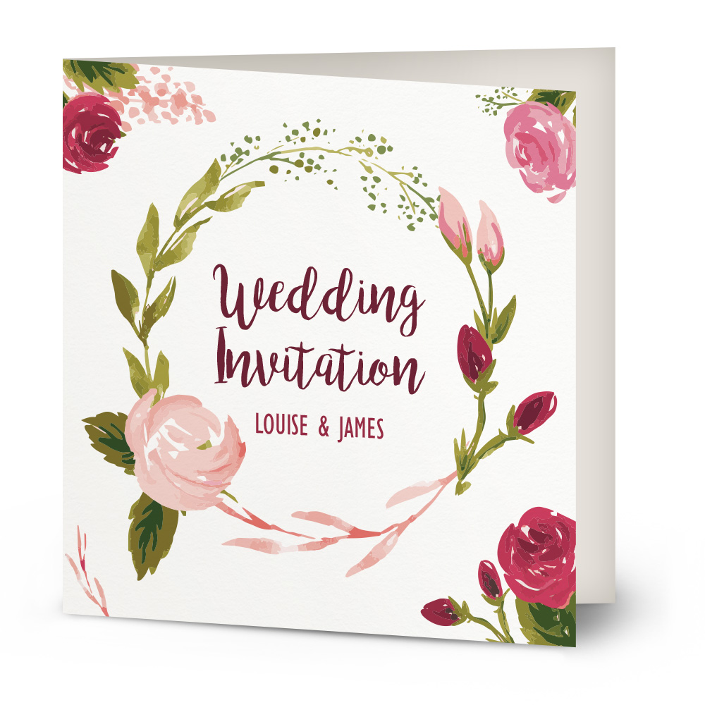 Wedding Invitations Rose: Painted Rose Wedding Invitation